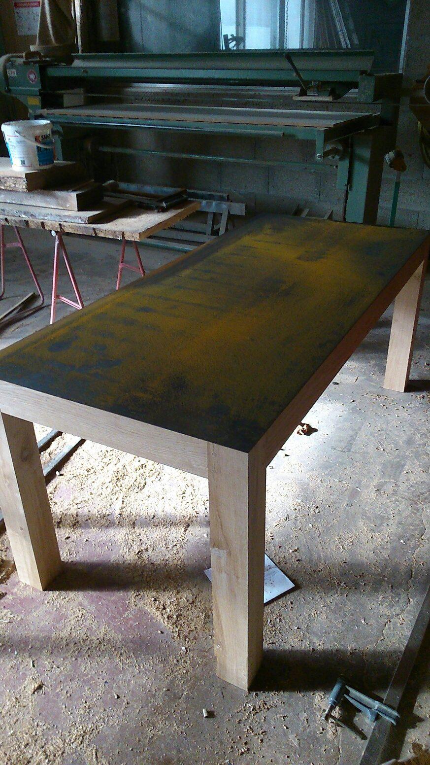 Table ch ne et metal atelier d 39 b nisterie angoul me fr d ric pigeault - Tole acier 2mm ...